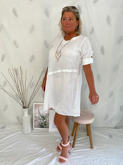 Linen mix dress with button up sleeves and silk panel