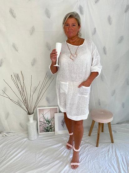 White, pocket front linen dress