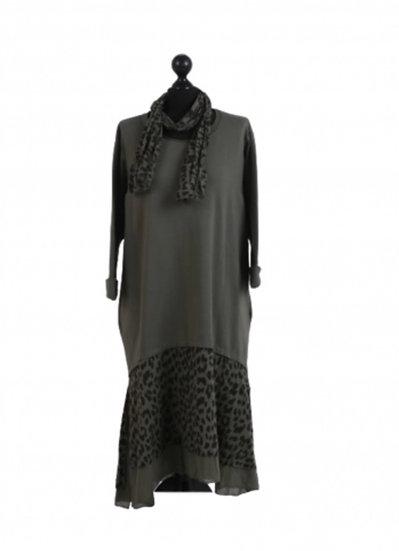 Italian khaki Leopard Print Tiered Cotton Peasant Dress With Scarf