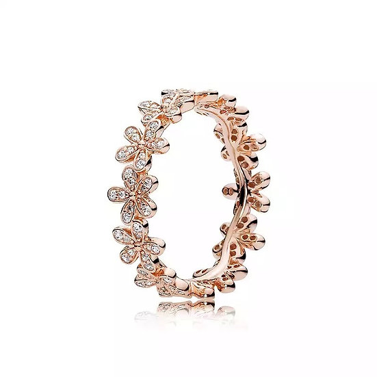 925 Sterling Silver & Rose Gold Color Daisy Flower Ring