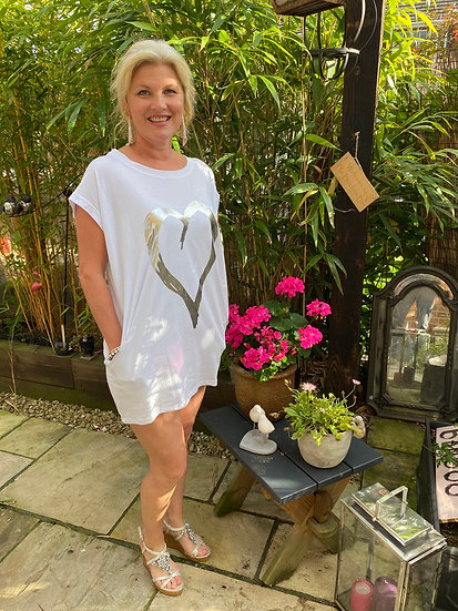heart t shirt dress with side pockets