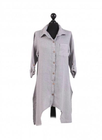Italian stone Plain Front and Back Buttons Linen shirt Top
