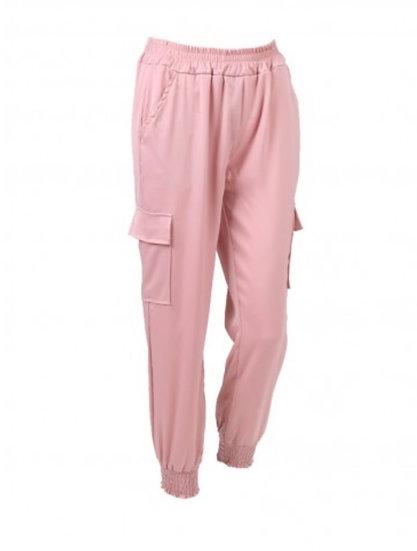 Dusky pink satin cargo trousers