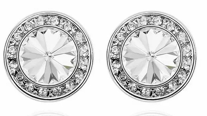 Maxi round crystal earrings in silver