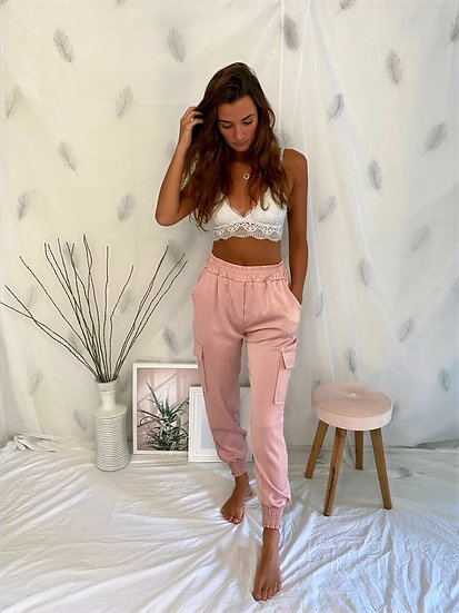 Dusky pink satin cargo trousers