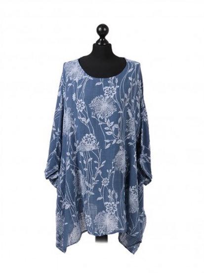 Italian Floral Print Batwing Plus Size Cotton Tunic Top
