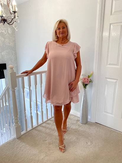 Italian dusky pink Plain 2 Layered Chiffon Sleeves Lagenlook Dress