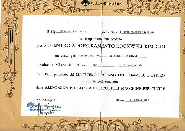Dyplom ARGUS Rockwell Rimoldi S.p.A.