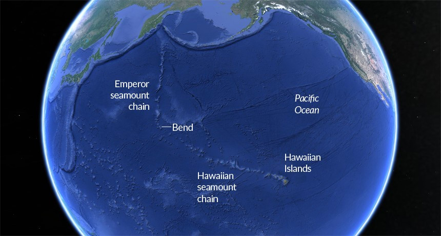 The Pacific Ocean showing the entire the Hawaiian Island chain. The bend in the line is thought to be when the East Pacific Plate shifted directions about 43 million years ago. Illustration from Science News March 2015.