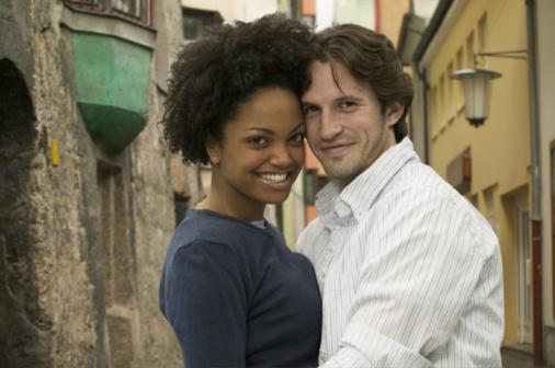 Black girl and white man