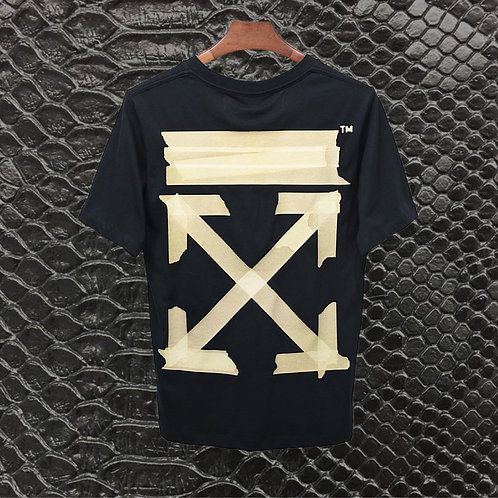 BLACK OFF WHITE TAN TAPE TEE