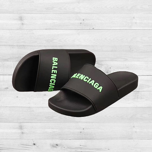 Black and Fluo Green Balenciaga Slides