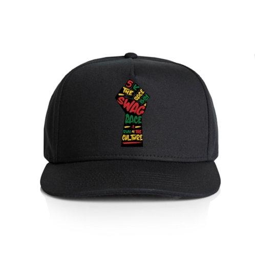 The Swag Race Black Baseball Cap w/Multicolored Black Fist