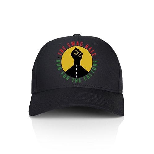The Swag Race Black Baseball Cap w/Yellow Circle + Black Fist