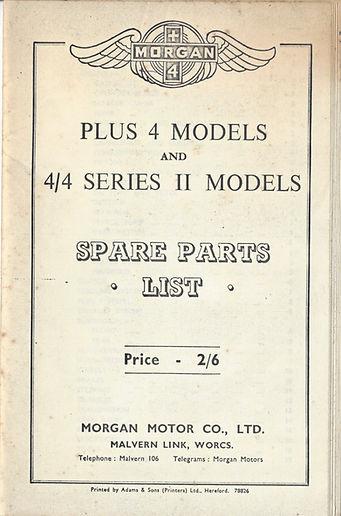 Vintage Morgan Spares List