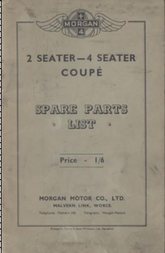 Morgan Coupe Spares List
