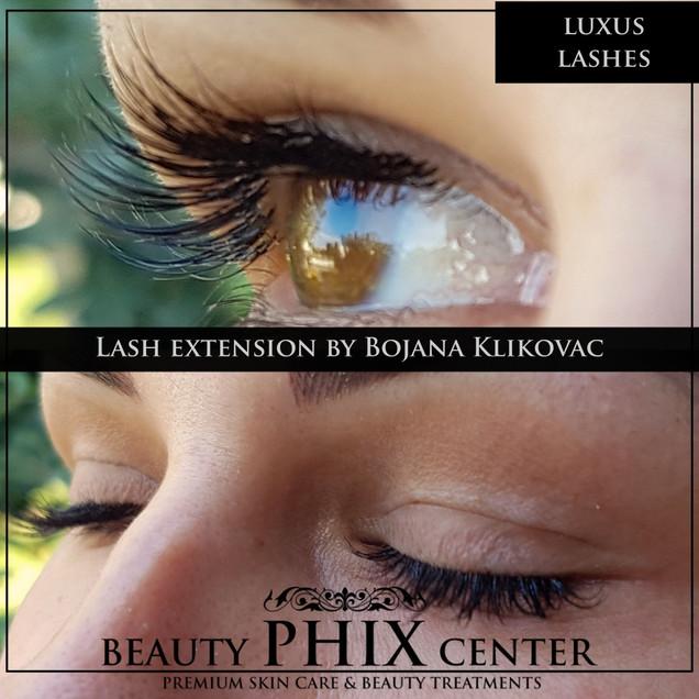 Fransförlängning med Luxus Lashes singel eller volym tehnique by certifierade estetiker och hudterapeut Bojana Klikovac.