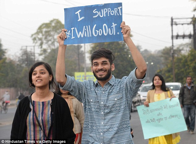 Male Indian activists at the #IWillGoOut campaign in Delhi