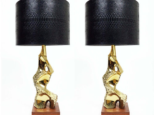 A pair of brass brutalist table lamps by Richard Barr for Laurel Lamp Company.