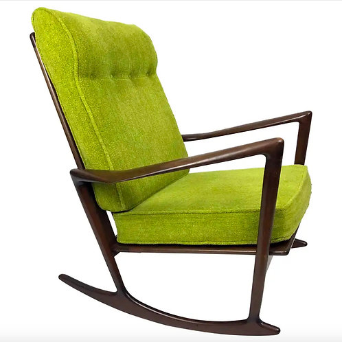 Sculptural Walnut Rocking Chair by Ib Kofod-Larsen