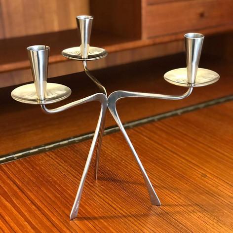 Stainless tripod candelabra by Gabis
