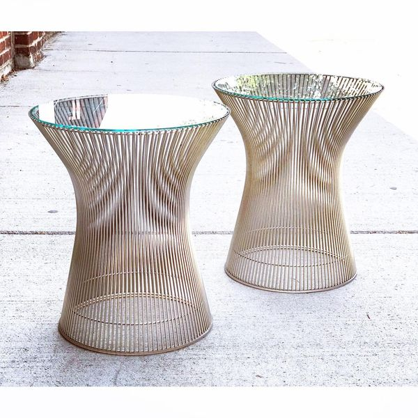 Pair of Chrome Wire Side Tables by Warren Platner