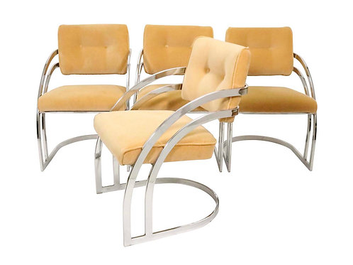 4 Chrome Chairs attributed to Baughman for DIA