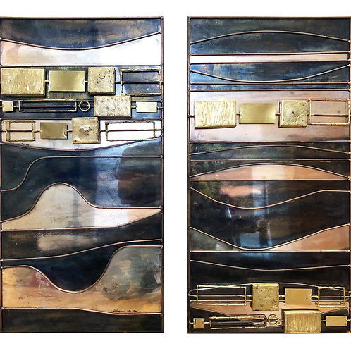 Large Curtis Jere Abstract Mix Metal Wall Art Sculpture Diptych