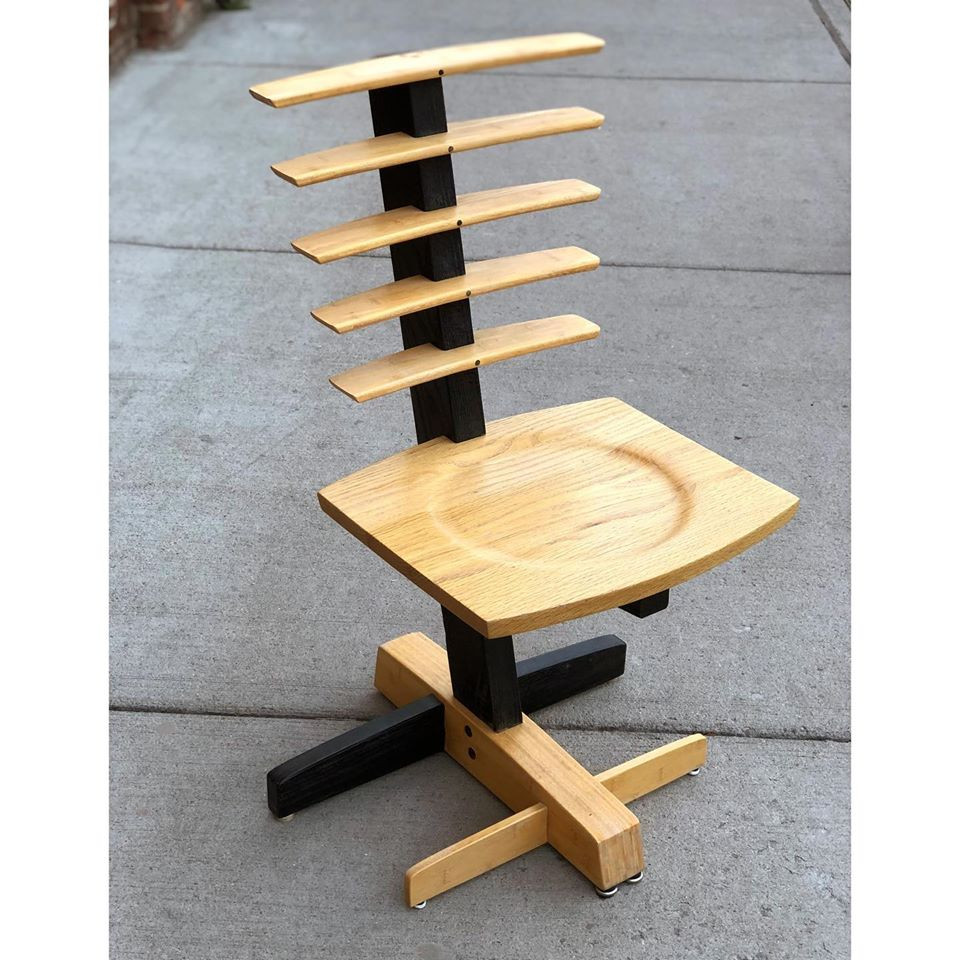 Oak and Bamboo Chair by Ronald Graziano