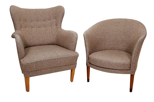 Pair of Mid-Century Swedish Chairs in the Manner of Carl Malmsten