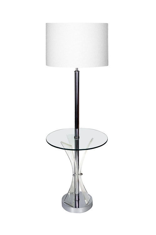 Mid-century Chrome, Glass and Lucite Table Floor Lamp