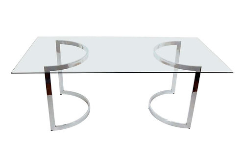 Milo Baughman Demilune Dining Table in Chrome and Glass