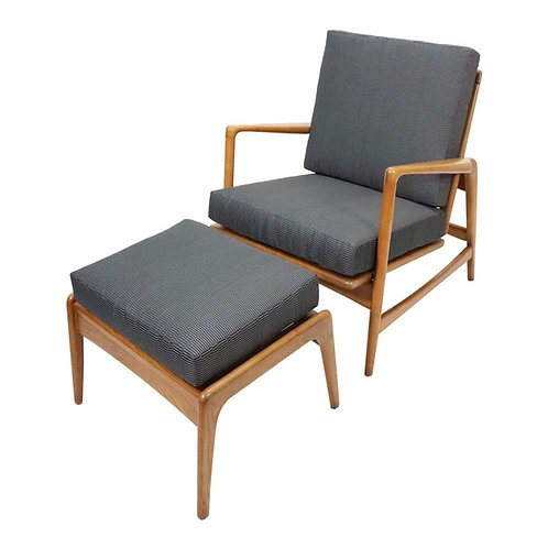 Walnut Lounge Chair and Ottoman with Adjustable Recline by Ib Kofod-Larsen