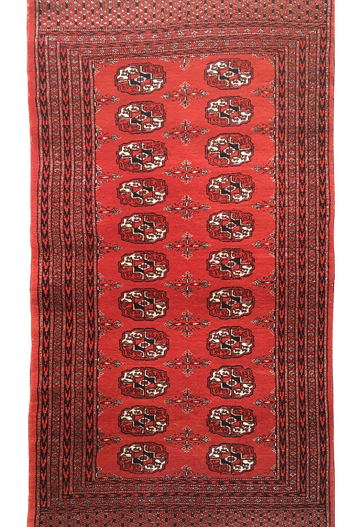 """Small rectangular rug in reds with white fringe Dimensions 50"""" X 31.5"""""""
