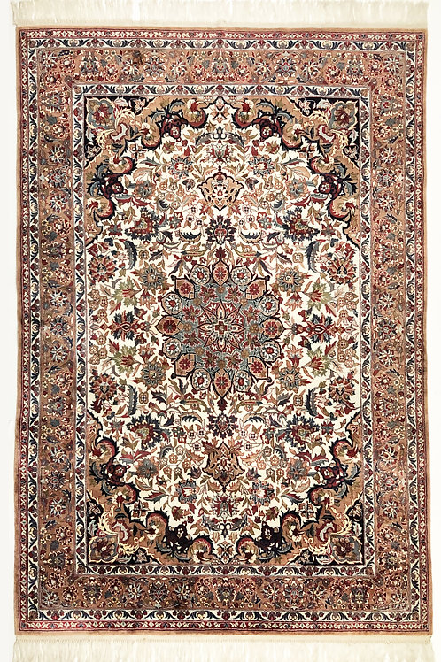 """Wine and Earth Tones Rug India, 1980s  Dimensions: 81"""" X  54"""""""