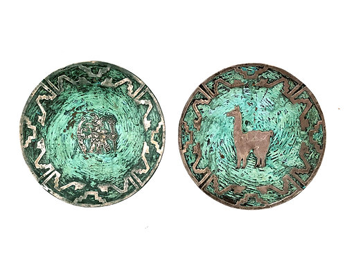 A Pair of Silver and Turquoise on Copper Plates attributed to Graziella Laffi