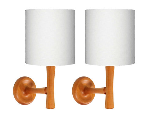 Pair of Midcentury Danish Teak Wall Sconces by Dyrlund