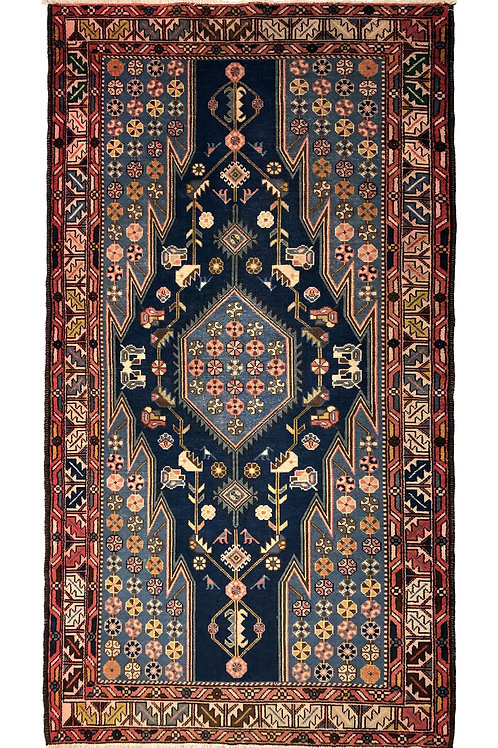 """Maslaghan rug navy and light blue field with maroon border — 81"""" X 42.5"""