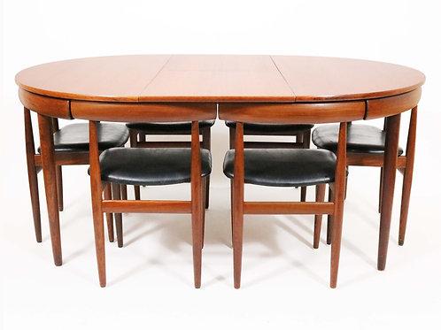 Danish Modern Dining Set with 6 chairs — Hans Olsen for Frem Rølje