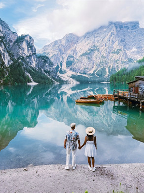 Beautiful mountain lake in the Dolomites, Lago di Braies