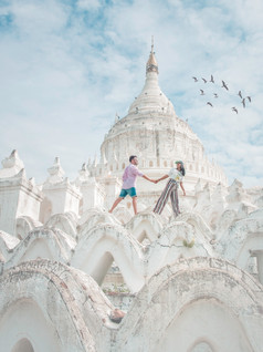 White temples and pagodas of Mandalay Myanamar