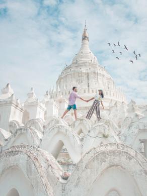 White temples and pagodas of Mandalay Myanamar