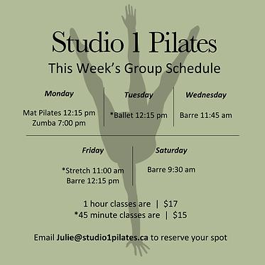 OCT 4 UPDATED Studio 1 Pilates schedule
