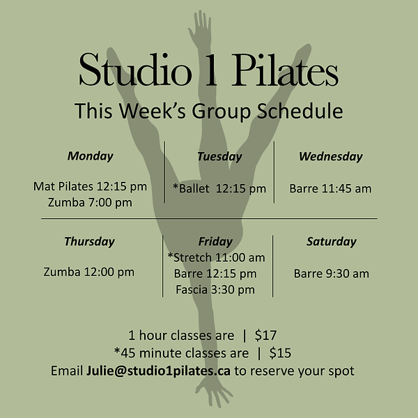 OCT 4 UPDATED Studio 1 Pilates schedule