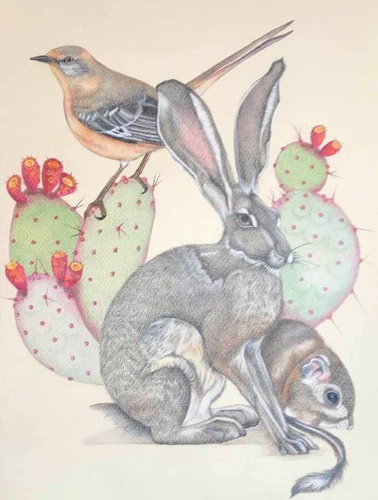Mockingbird on Prickly Pear, Jack Rabbit and Kangaroo Rat