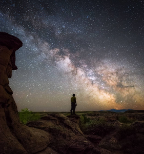 Clear starry night sky in Writing-on-Stone Provincial Park