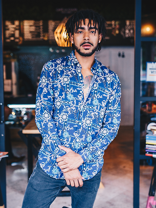 Camisa Caballero Italia Print