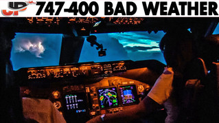 Piloting BOEING 747 during Thunderstorms   Cockpit Views