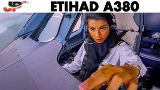 Shaima Pilots the ETIHAD A380 out of Abu Dhabi