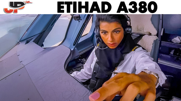 Shaima Pilots the ETIHAD A380 out of Abu Dhabi
